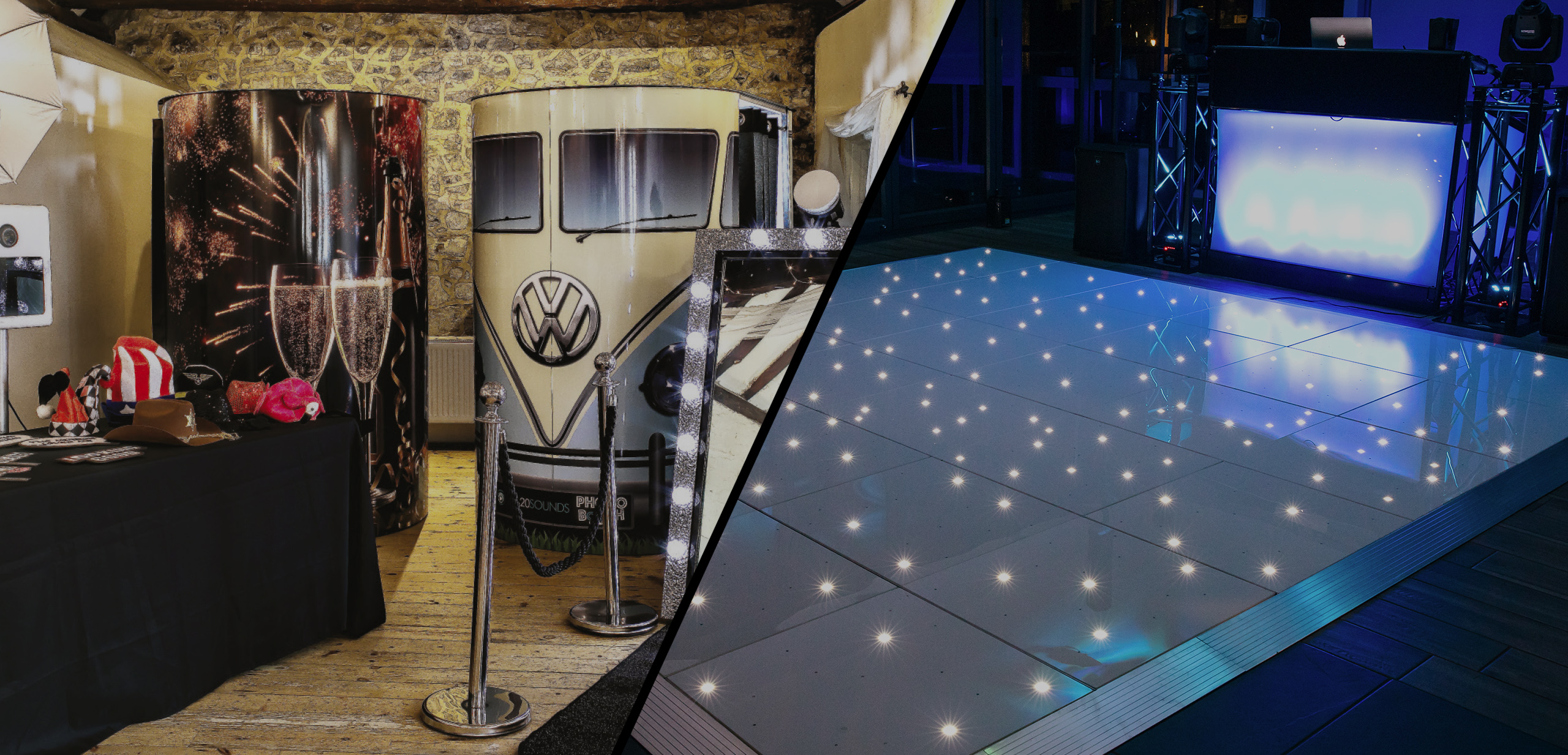 Combined DJ and Photo Booth or Selfie Mirror Packages